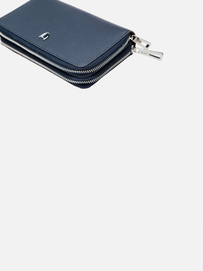 Women Blocking Wallet Card Holder With Zip - Blue