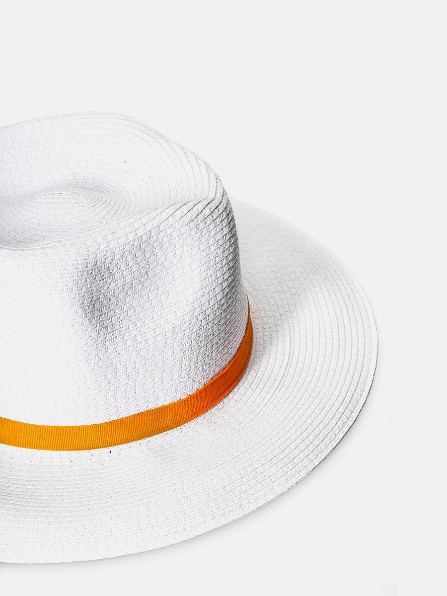 Straw Fedora Hat- White