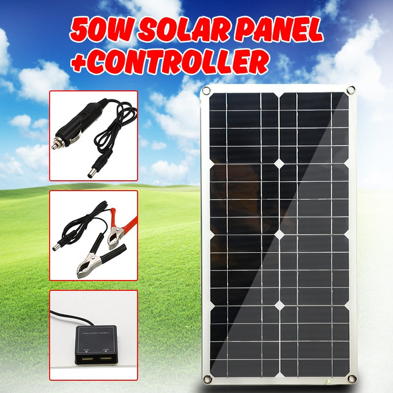 50W Solar Panel Dual USB Output Solar Cells Poly Solar Panel for Car Yacht 12V Battery Boat Charger