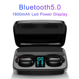 AWI W2S Wireless Earphone Bluetooth 5.0 TWS Headsets LED Display with Power Bank  Sport Earbuds