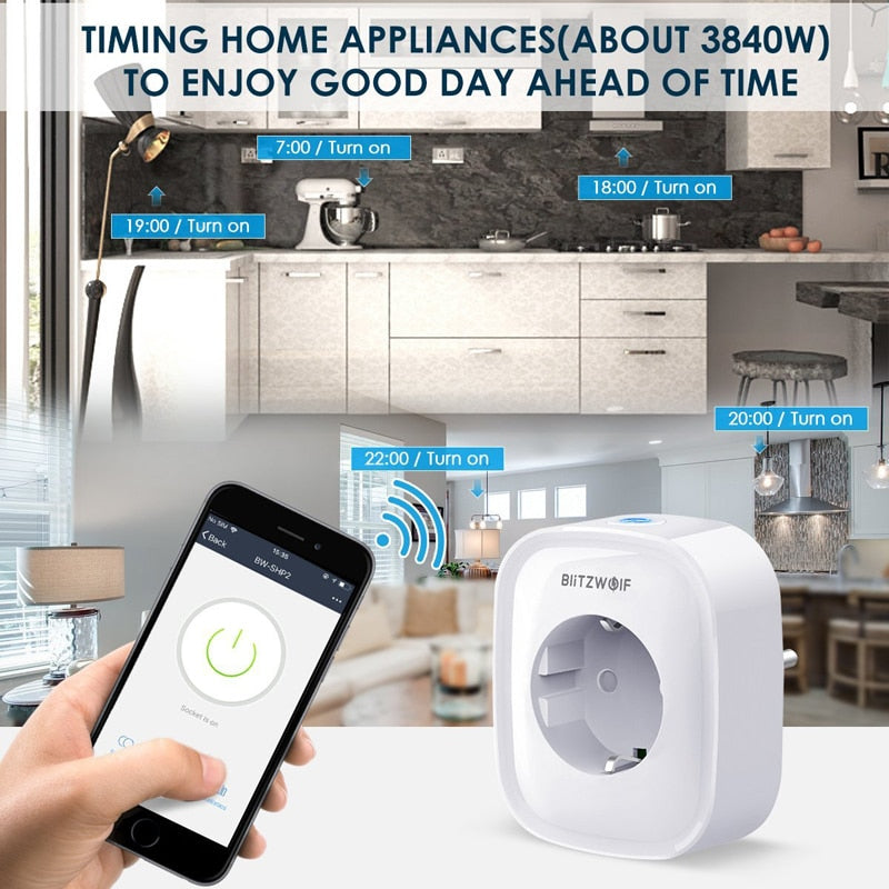 BlitzWolf BW WIFI Smart Socket EU Plug 220V 16A Remote Control Smart Timing Switch Work For Amazon Alexa/Google Assistant