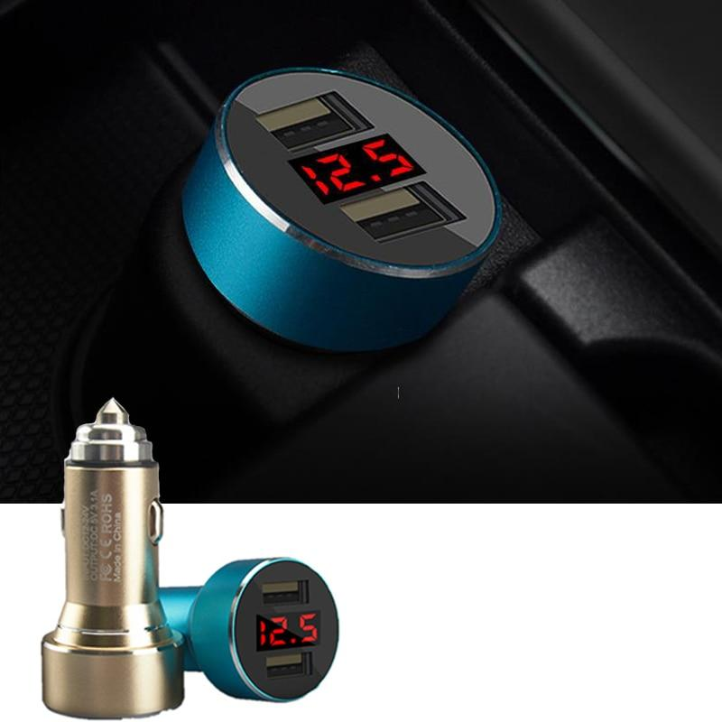 Car Dual USB Charger Cigarette Lighter 3.1a Phone Charging LED Digital Display Voltage Current Electronic Portable Auto Adapter