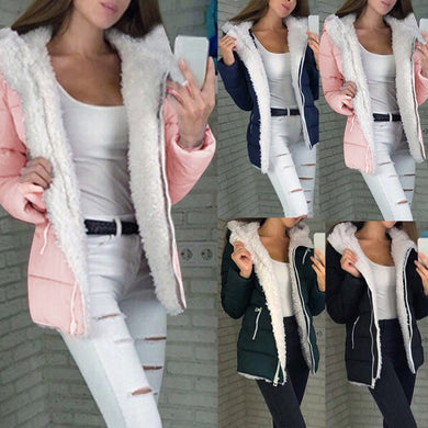 Women Winter Coat Women Winter Long-Sleeve Warm Jacket Outerwear Zipper Coat