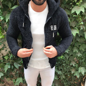 Jacket Men's Sweater Warm Hooded Sweater Coat Jacket Men's Autumn Winter Casual Loose Double Sided Plush Men's Sweater Coat Top