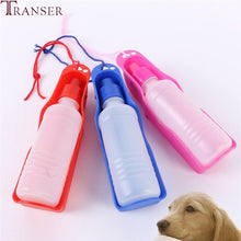 Transer Pet Dog Water Bottle 250ml 500ml Plastic Portable Water Bottle Pets Outdoor Travel Drinking Water Feeder Bowl|Dog Feeding