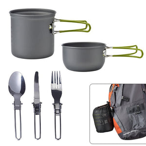 Ultra light Camping Cookware Aluminum Alloy Utensils Outdoor Teapot Picnic Tableware Kettle Pot Mini Trip Spoon 5pcs/Set #YL10