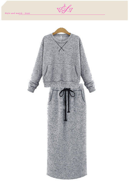 Two Piece Set Women Cashmere Hoodie Tops Pockets Gray Casual Calf Length Skirt