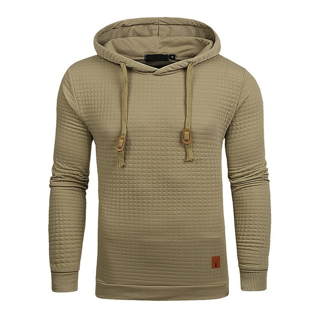 Plaid Hoodies Men Long Sleeve Solid Color Hooded Sweatshirt Male Hoodie Casual Sportswear