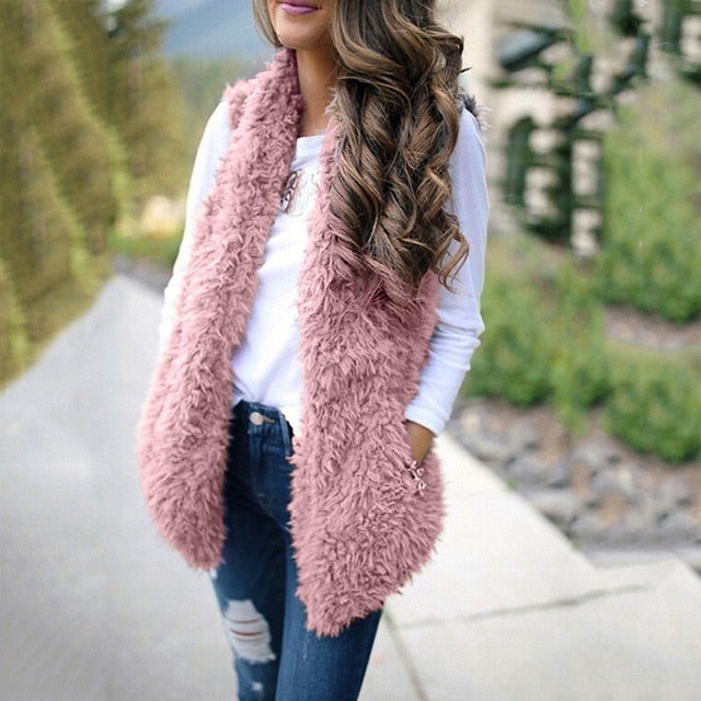 2019 Winter waistcoat for women Plush chalecos mujer Faux Fur Solid Casual Sleeveless Warm Vest Jacket warm cashmere cardigan