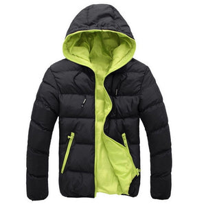 Men's Coat Winter Color Block Zipper Hooded Jacket Coat Slim Fit Fashion Thicken Warm Outwear