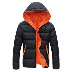 HEFLASHOR Men's Coat Winter Color Block Zipper Hooded Jacket Cotton Padded Coat Slim Fit Fashion Thicken Warm Outwear Tracksuit on AliExpress