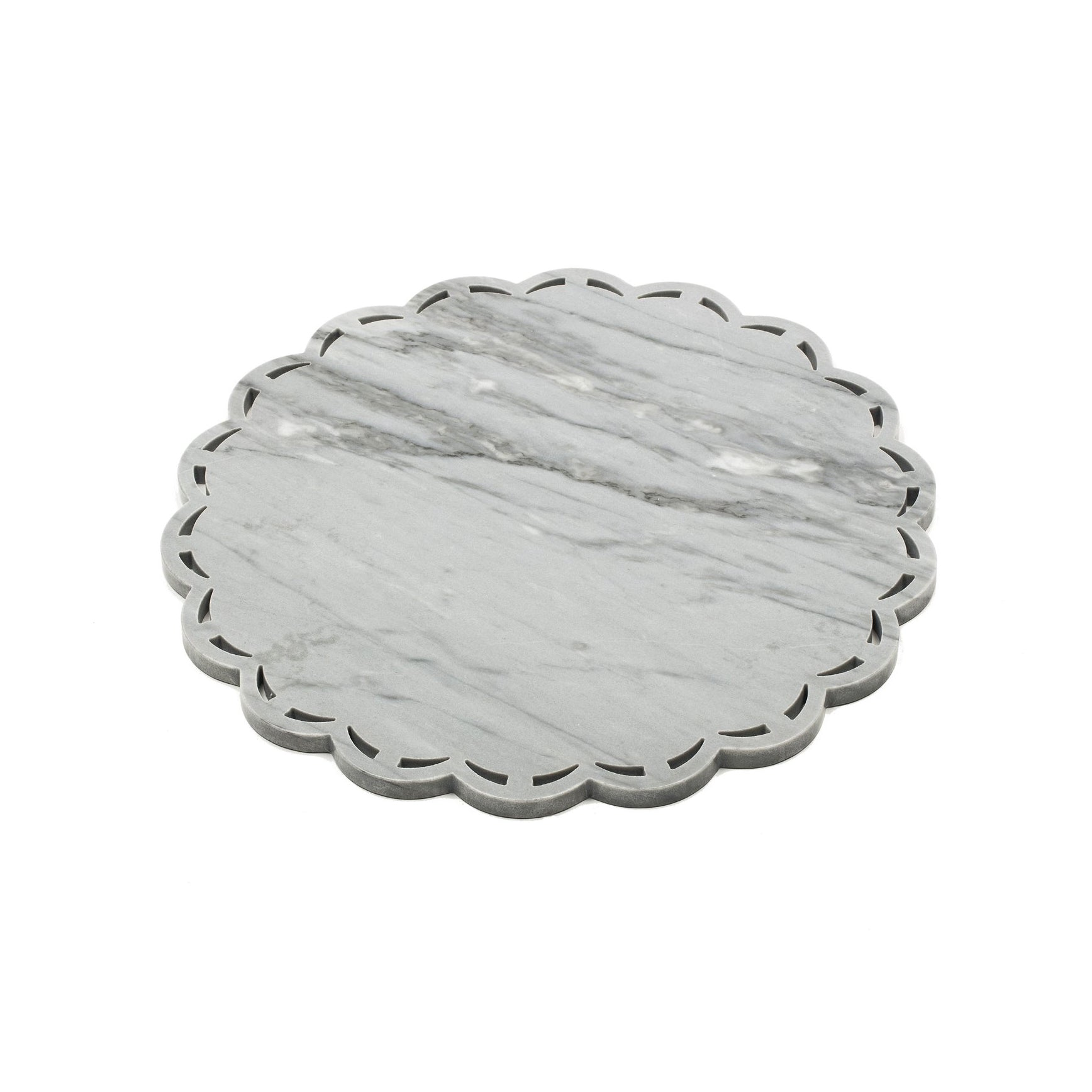 Round Marble Tray or Plate with Lace Edge