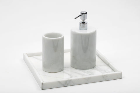 Rounded Set for Bathroom in Marble with Tray