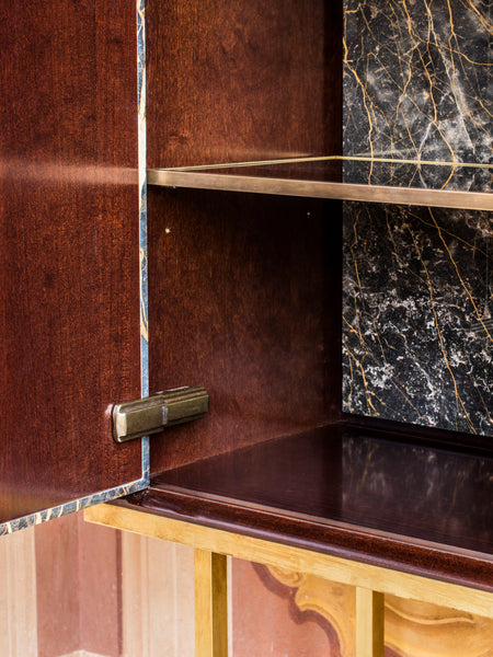 X_Bar Cabinet in Black Port Laurent Marble, Wood, Solid Brass