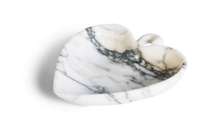 Bowl with leaf shape in Paonazzo marble