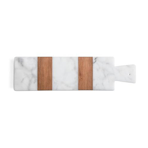 Rectangular White Marble and Wood Cutting Board