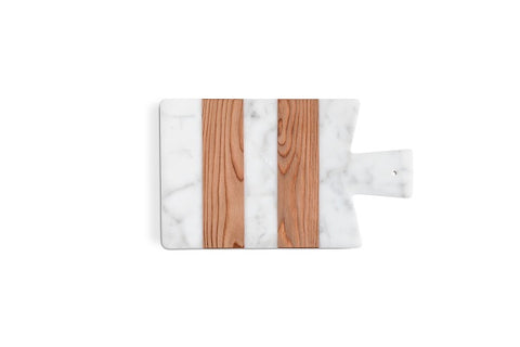 Mobj122_White Marble Chopping Board With Wood Inserts