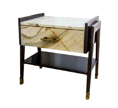 Bedside Table in Paonazzo Marble, Cherrywood and Brass