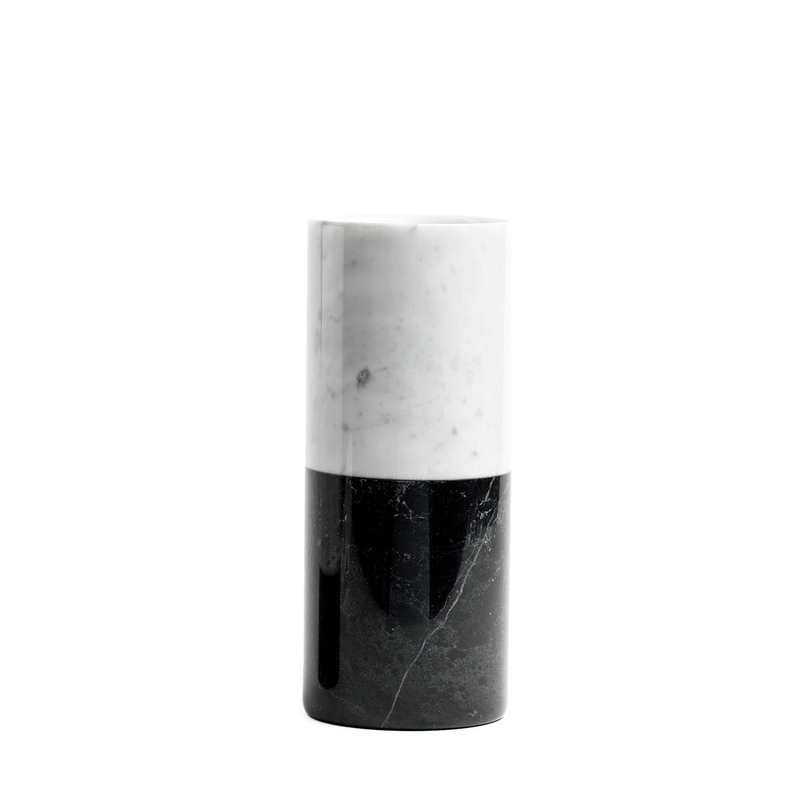 Mobj45_Cylindrical White Carrara and black Marquina Marble Vase