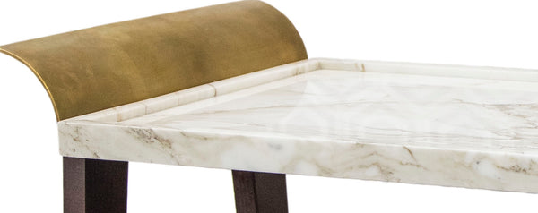 Tray Table in Paonazzo Marble, Cherrywood and Brass