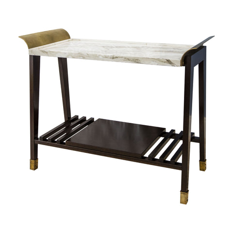 X_Tray Table in Paonazzo Marble, Cherrywood and Brass