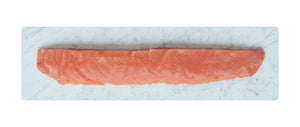 Beveled long plate in marble for salmon