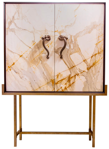 X_Bar Cabinet in Paonazzo Marble, Wood, Solid Brass