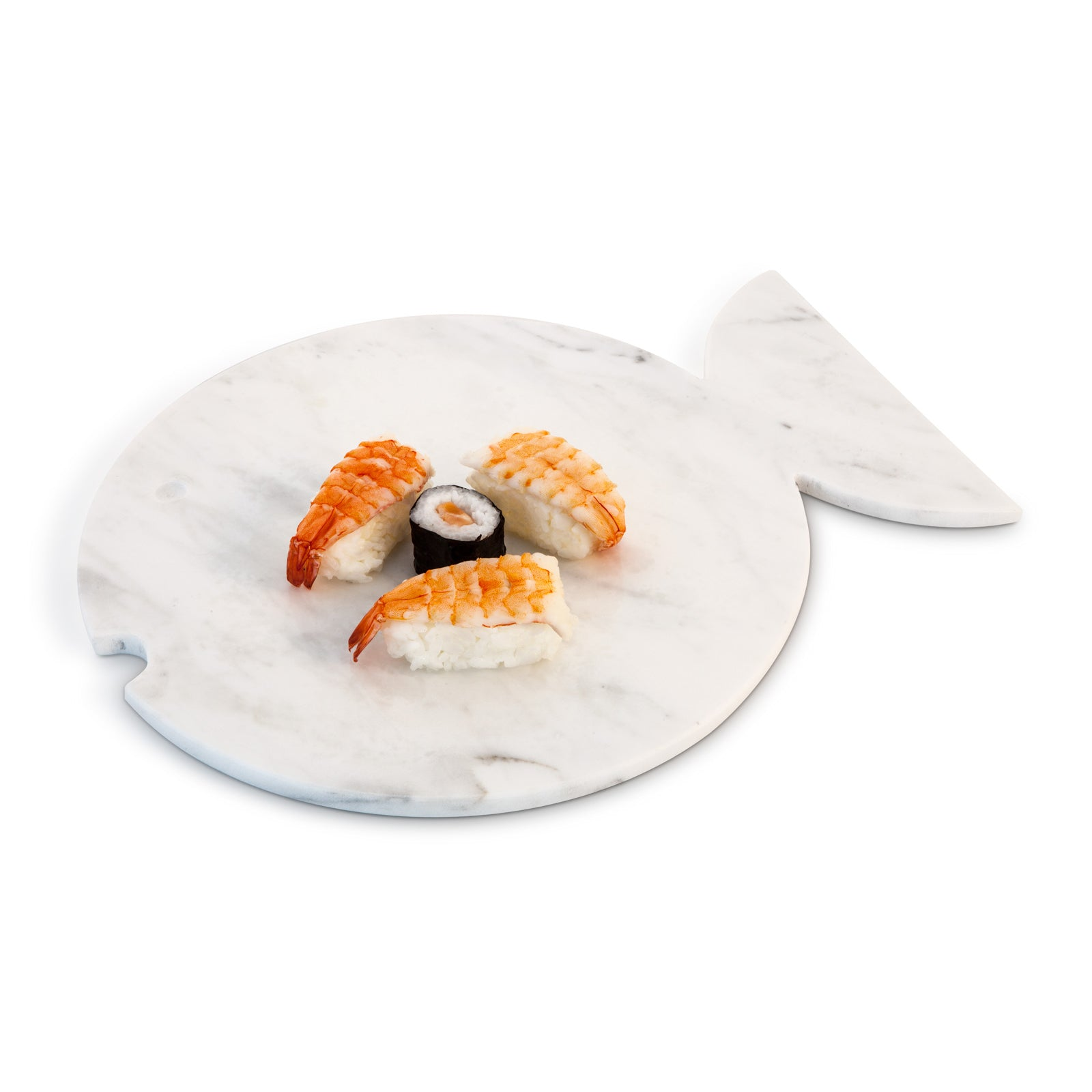 Mobj05_White Carrara marble design plate with fish shape