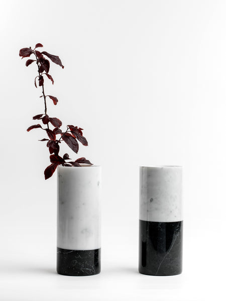 Cylindrical White Carrara and black Marquina Marble Vase
