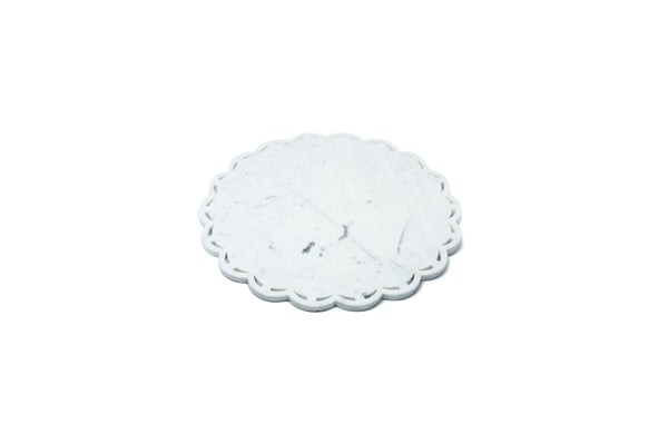 Mobj86_Round Marble Tray or Plate with Lace Edge