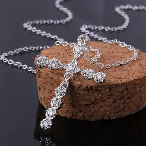 "Crystal Cross Pendant Silver 18"" Chain Necklace"