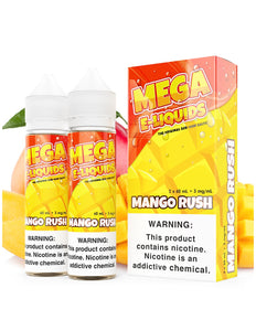 Mango Rush is a fruity e juice with flavors of mango & white peach. This e liquid is made by MEGA E Liquids in quantities of 120ml or 240ml. Nicotine strength options are 0%, 3% or 6%.