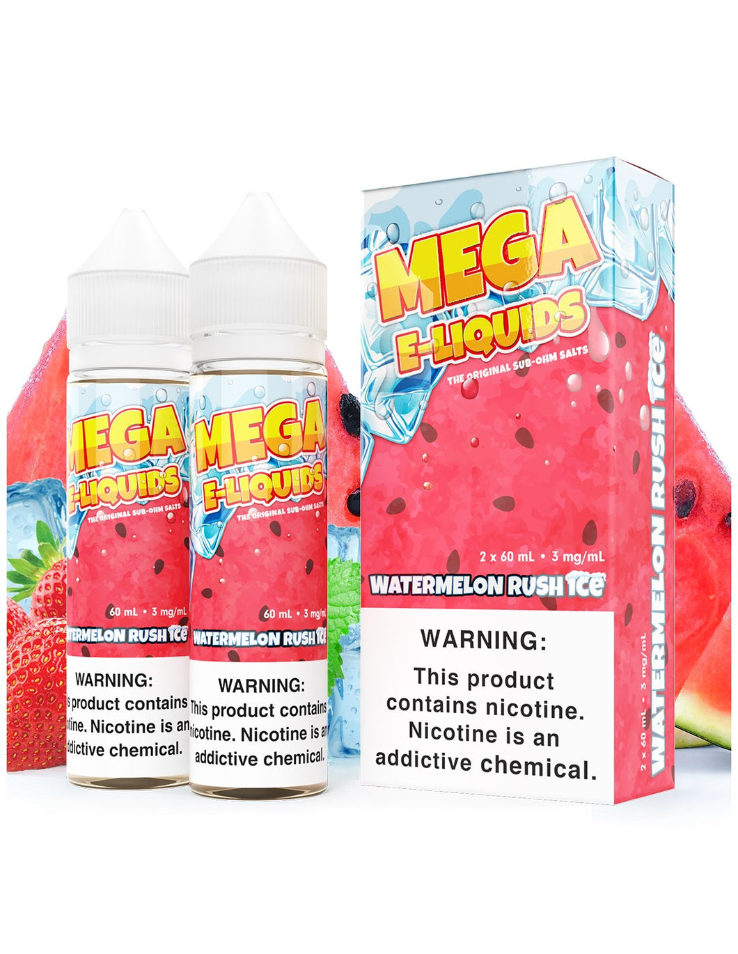 Watermelon Rush Ice is a fruity menthol e juice with flavors of strawberry & watermelon. This e liquid is made by MEGA E Liquids in quantities of 120ml or 240ml. Nicotine strength options are 0%, 3% or 6%.