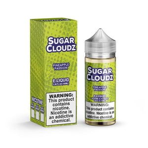 Passion Pineapple is a fruity drink e juice with flavors of pineapple & candy drink. This e liquid is made by Sugar Cloudz in 100ml chubby gorilla bottles. Nicotine strength options are 0%, 3% or 6%.