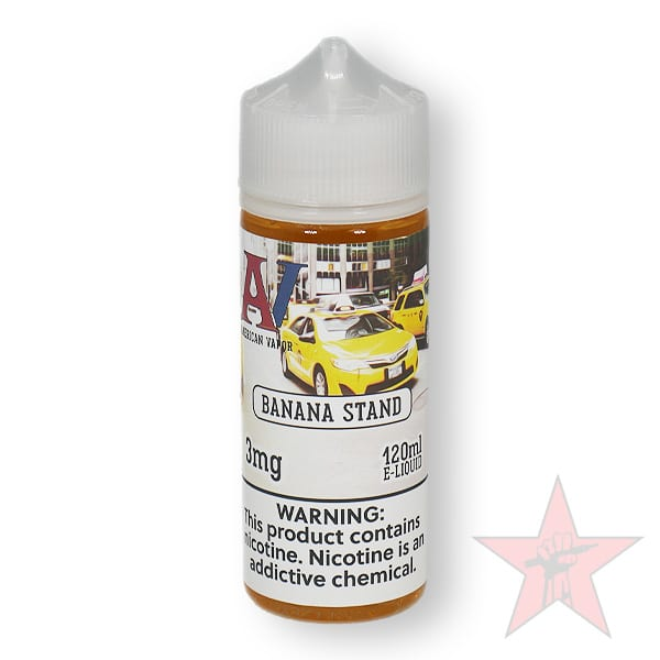 Banana Stand is a fruity dessert e juice with flavors of banana, oatmeal cookie & custard. This e liquid is made by American Vapor Group/Red Star Vapor in bottle sizes of 60ml or 120ml. Nicotine strength options are 0%, 3% or 6%.