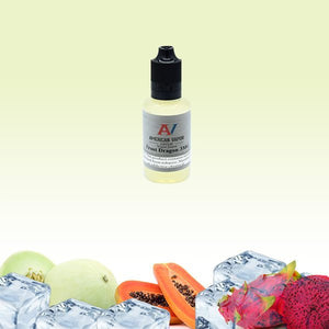 Frost Dragon is a menthol fruit e juice with flavors of dragon fruit, papaya & menthol. This e liquid is made by American Vapor Group in bottle sizes of 30ml, 60ml or 120ml. Nicotine strength options are 0%, 3%, 6% or 12%.