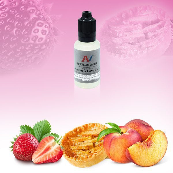 mother's love is a fruity e juice with flavors of strawberry, white peach & green apple. This e liquid is made by American Vapor Group/Red Star Vapor in 30ml, 60ml or 120ml chubby gorilla bottles. Nicotine strength options are 0%, 3%, 6% or 12%.