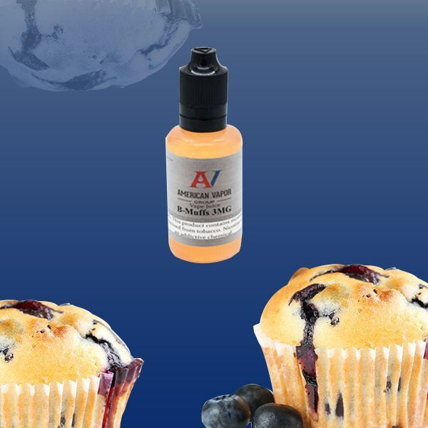 B Muffs is a fruity dessert e-juice with flavors of blueberry & muffin. This e-liquid is made by American Vapor Group in bottle sizes of 30ml, 60ml &120ml. nicotine strength options are 0%, 3%, 6% & 12%