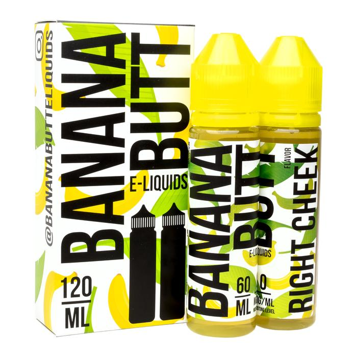 Right Cheek is a fruity cream dessert e juice with flavors of banana, oatmeal, cookie & cream. This e liquid is made by Banana Butt in bottle size options of 60ml or 120ml. Nicotine strength options are 0%, 3% or 6%.