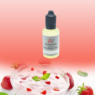 Bang Berry is a creamy fruit e-juice with flavors of strawberry & yogurt. This e-liquid is made by American Vapor Group in bottle sizes of 30ml, 60ml & 120ml. Nicotine strength options are 0%, 3%, 6% & 12%