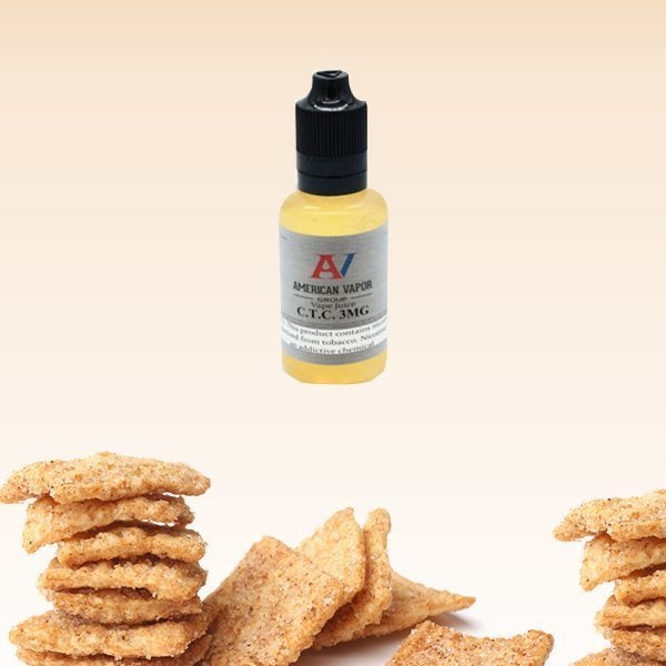 CTC is a dessert cereal e-juice with flavors of cinnamon, custard, cream & milk. This e-liquid is made by American Vapor Group / Red Star Vapor with bottle sizes of 30ml, 60ml or 120ml. Nicotine strength levels of 0%, 3%, 6% or 12%