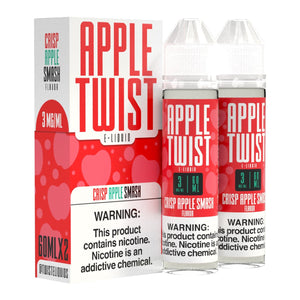 Apple Twist is a fruity e-juice with flavors of apples. This e liquid is made by Twist E-Liquids in bottle sizes of 120ml or 240ml. Nicotine strength options are 0%, 3% or 6%.