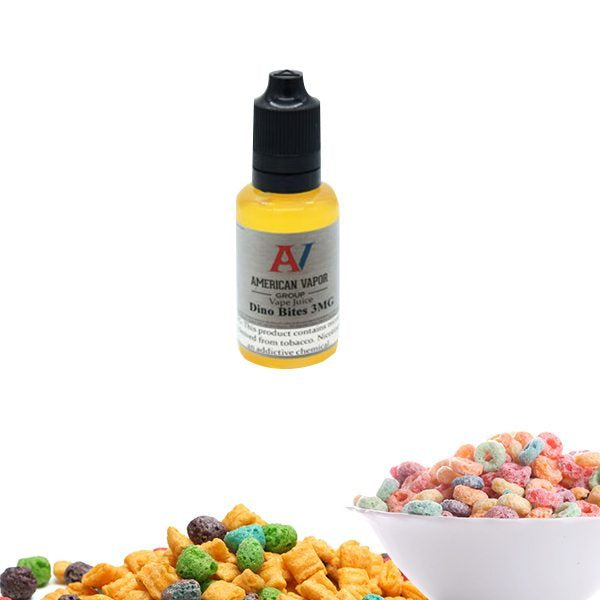 Dino Bites is a custard cereal e juice with flavors of milk & assorted berries. This e liquid is made by American Vapor Group & Red Star Vapor in bottle sizes of 30ml, 60ml or 120ml. Nicotine strength options are 0%, 3%, 6% or 12%.
