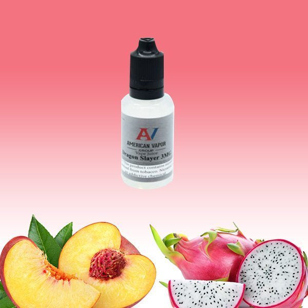 Dragon Slayer is a fruity e juice with flavors of dragon fruit & peaches. This e liquid is made by American Vapor Group & Red Star Vapor in bottle sizes of 30ml, 60ml or 120ml. Nicotine strength options are 0%, 3%, 6% or 12%.