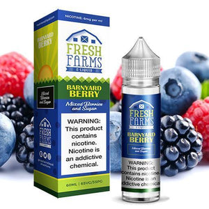 Barnyard Berry is a candy salt nic with fruit flavors of blueberry & assorted berries. This e-liquid is made by Fresh Farms in 30ml gorilla bottles. Nicotine strength option is 50mg