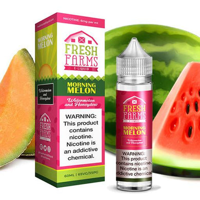 Morning Melon is a fruity salt nic e juice with flavors of watermelon & honeydew. This e salt nic liquid is made by Fresh Farm in 30ml bottles. Nicotine strength is 50mg.