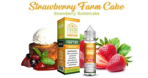 Strawberry Farm Cake is a fruity dessert salt nic e juice with flavors of strawberry, cake & frosting. This salt nic is made by Fresh Farms in 30ml bottle sizes. Nicotine strength is 50mg