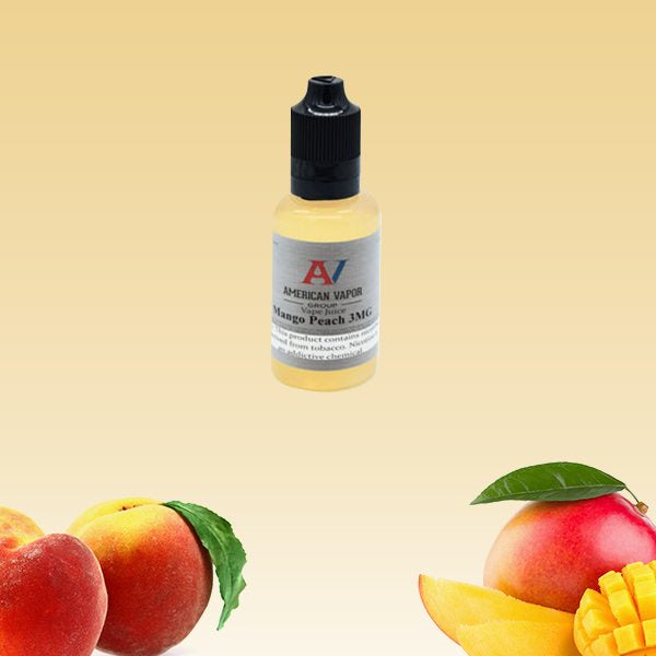 Mango Peach is a fruity e juice with flavors of mango & peach. This e liquid is made by American Vapor Group in bottle size options of 30ml, 60ml or 120ml. Nicotine strength options are 0%, 3%, 6% or 12%.