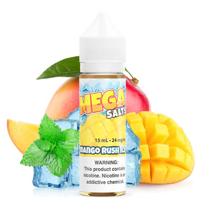 Mango Ice - Salt Nic is a fruity menthol salt nic e juice with flavors of mango & white peach. This e liquid is made by MEGA E Liquids in quantities of 15ml or 30ml. Nicotine strength option is 24%,