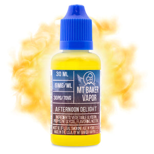 Afternoon Delight is an e-juice with tropical flavors including banana, coconut & pineapple. This e-liquid flavor is made by Mt Baker Vapor with sizes of 30ml & 60ml. Nicotine levels of 0%, 3% & 6%